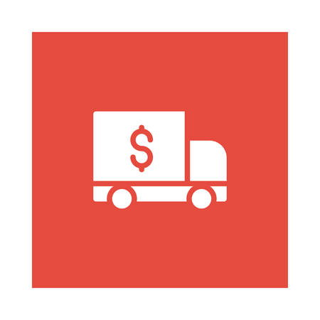 A delivery icon on red background, vector illustration.