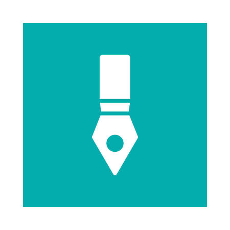 A pen icon on blue background, vector illustration.