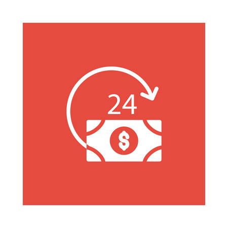 A currency reload icon on red background, vector illustration.