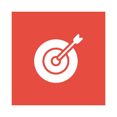 An arrow with target icon on red background, vector illustration.