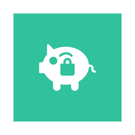 A piggy bank with lock icon on green background, vector illustration.