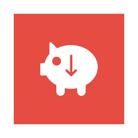 赤の背景、ベクトル図に矢印アイコンを貯金。