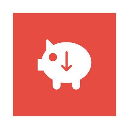 A piggy bank with down arrow icon on red background, vector illustration.