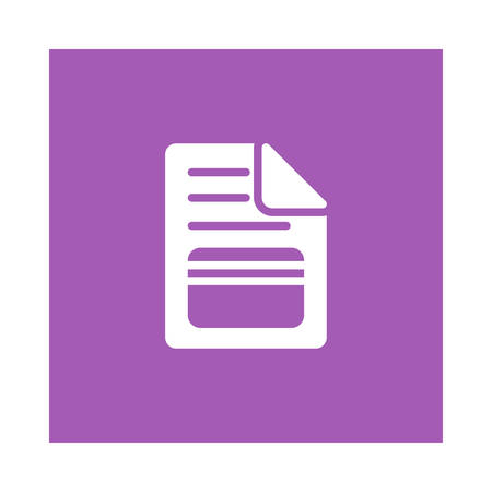 A document file icon on violet background, vector illustration.