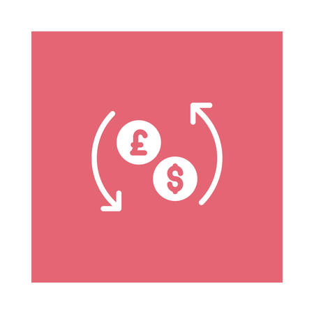 A reload currency icon on pink background, vector illustration. Illustration