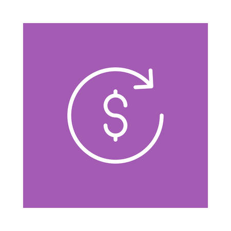 A reload  dollar icon on violet background, vector illustration. Ilustração