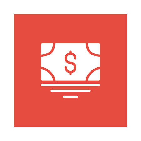 A money icon on red background, vector illustration.