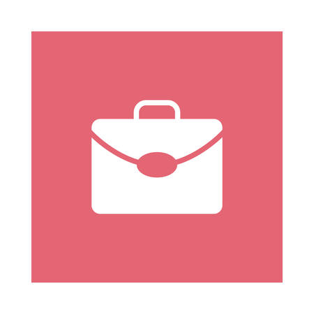 A briefcase icon on pink background, vector illustration.