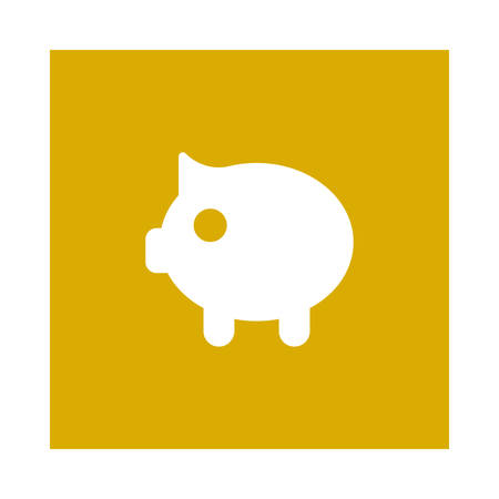 A piggy bank icon on yellow background, vector illustration.