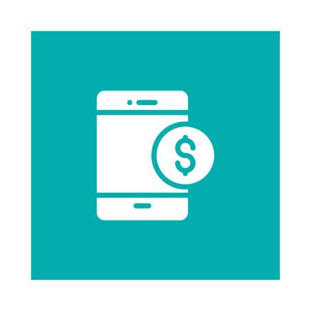online bankwezenpictogram op blauwe achtergrond, vectorillustratie. Stock Illustratie
