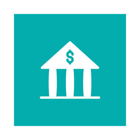A bank finance icon on blue background, vector illustration.
