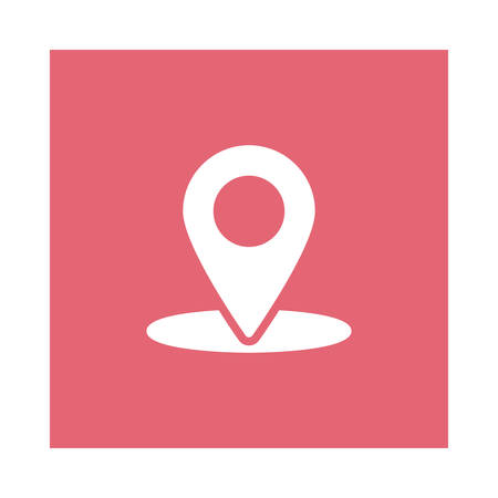 Location marker icon on pink background, vector illustration. Illustration
