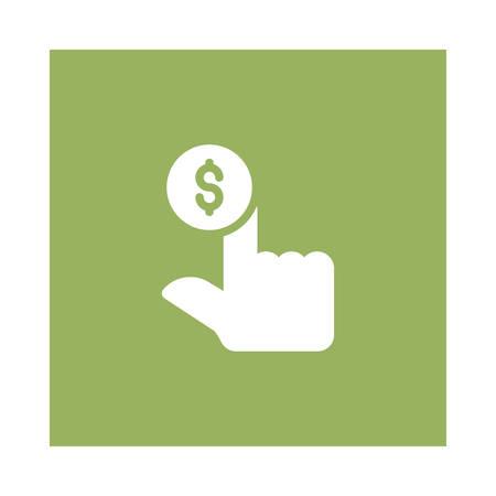 Een handgebaar pictogram op groene achtergrond, vectorillustratie. Stockfoto - 88911456