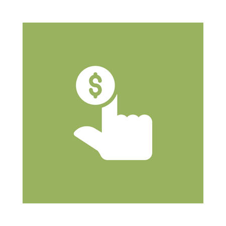 A hand gesture icon on green background, vector illustration.