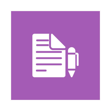 A pen and document icon on violet background, vector illustration. Illustration