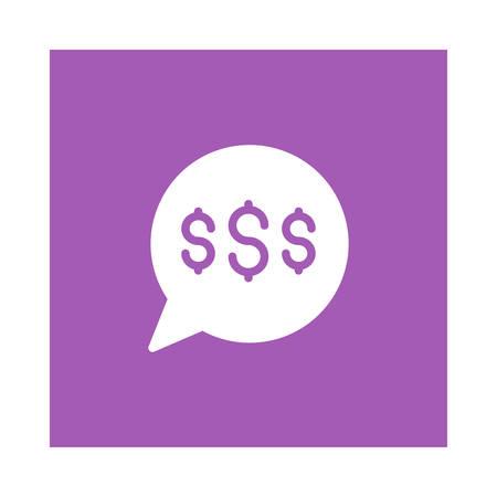 A comment bubble icon on violet background, vector illustration. Ilustrace