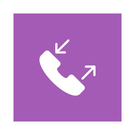 Receive call icon on violet background, vector illustration.