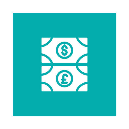 A money icon on blue background, vector illustration.