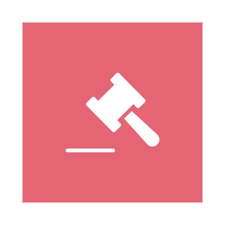 A law icon on pink background, vector illustration.