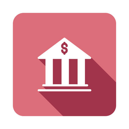 Bank icon with shadow in white silhouette illustration. Ilustracja