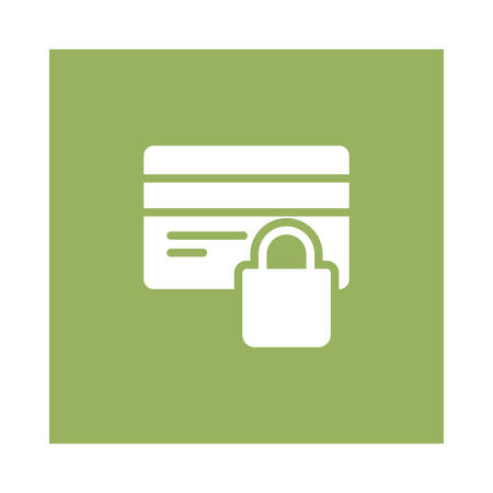 A lock and atm card icon on green background, vector illustration.