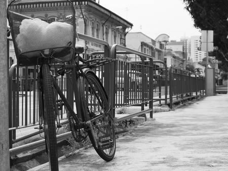 b w: bicycle at joo chiat singapore