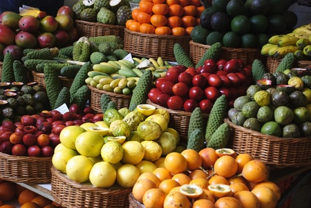Fruit market in Funchal, Madeira Stock Photo - 12936878