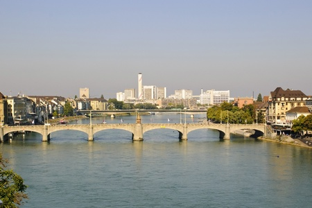 Basel with river Rhein, Swiss Stock Photo