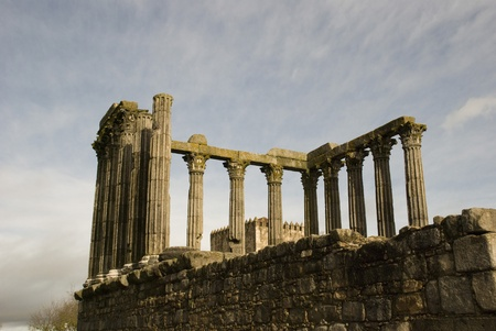 Ruins of Roman Temple, Evora, Portugal photo
