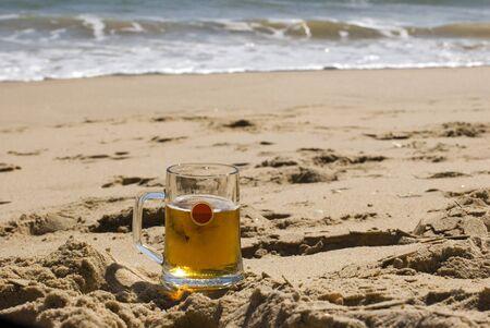 Beer on sandy beach Stock Photo - 12805029