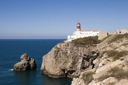 Lighthouse at Cabo da Sao Vicente, Portugal Stock Photo