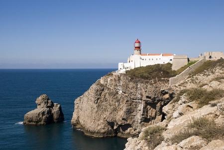 Lighthouse at Cabo da Sao Vicente, Portugal Stock Photo