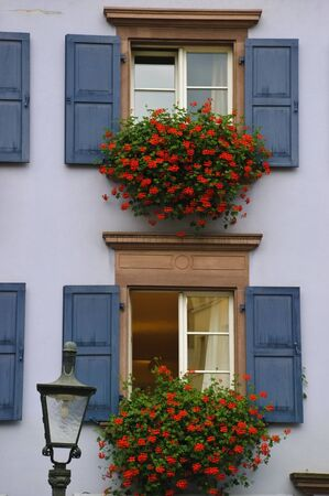 frontend: House fronted windows with shutters and flowers Stock Photo