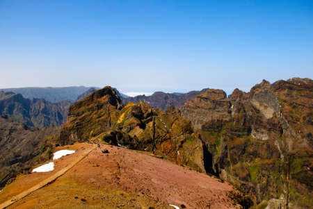 Walking path around Pico Arierio, central Madeira mountains, Madeira, Portugal Stock Photo