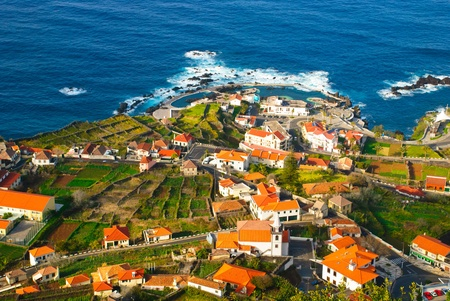 Porto Moniz, village with natural swimming pool, Madeira island, Portugal photo