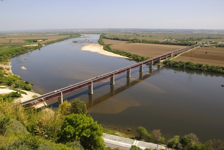 Tejo, Tagus River valley with bridge, Santarem, Portugal