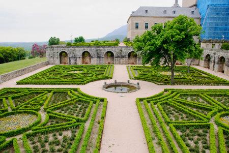 El Escorial monastery with garden, Madrid, Spain Editorial
