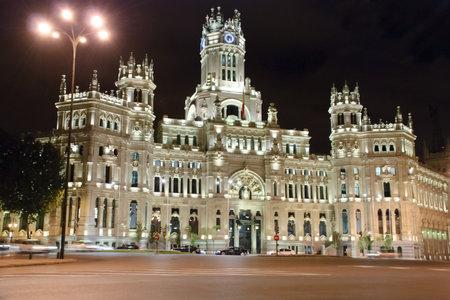Palacio de Cibeles at night, Madrid, Spain