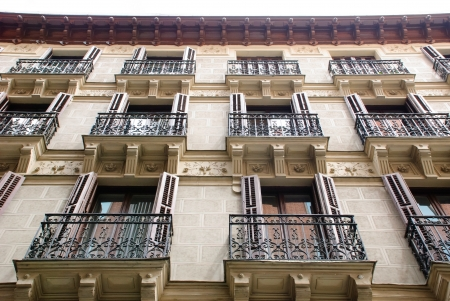 House with balconies, Madrid, Spain photo