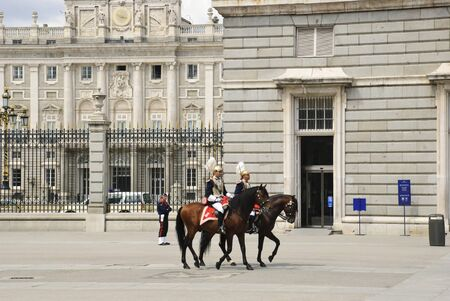 Guards on the horses at Royal palace, Palacio real, Madrid, Spain Stock Photo - 13894047