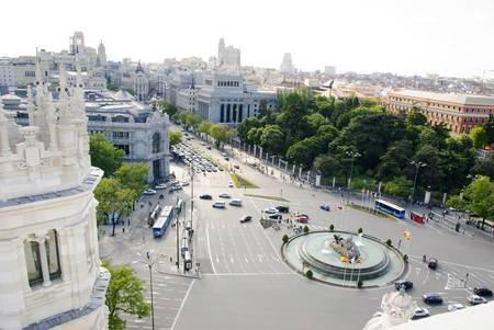 gran via: Gran Via viewed from Palacio Cibeles, Madrid, Spain Stock Photo