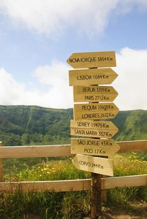 Sign with cities and distancies, Caldeira do Faial, Azores