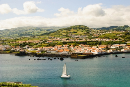 View to Horta city, Faial island, Azores photo