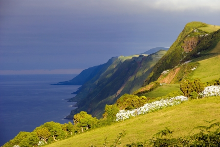 Afternoon view over cliffs of Sao Jorge island, Azores Stock Photo