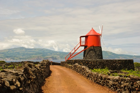 Typical azorean windmill in vineyards of Pico island, Azores, Portugal