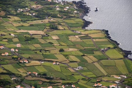 agriculture azores: Agricultural fields at the coast of Pico island, Azores Stock Photo