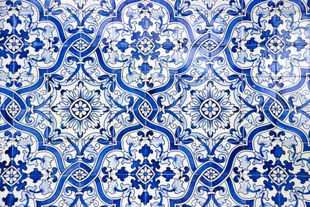 Typical portuguese tiles, azulejos with pattern photo