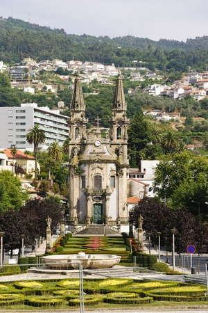 guimaraes: Cathedral with park in Guimaraes, Portugal