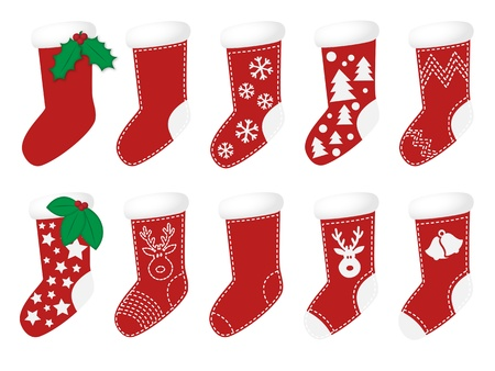 Red christmas socks with different decoration Vector
