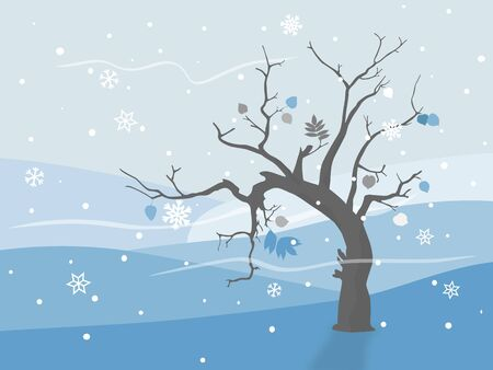 Lonely tree in winter with frozen leafs Stock Vector - 16892684